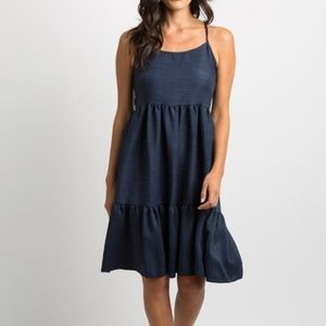 Navy Blue Tiered Lace-Up Tie Back Maternity Dress